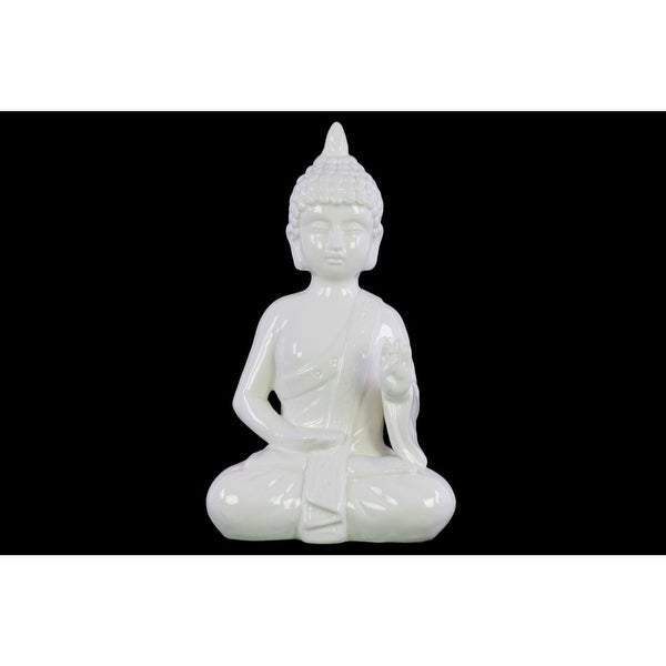Ceramic Meditating Buddha Figurine with Pointed Ushnisha in Abhaya Mudra, White