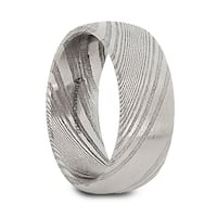 VALYRIAN Domed Brushed Damascus Steel Men's Wedding Band with A Vivid Etched Design- 8mm