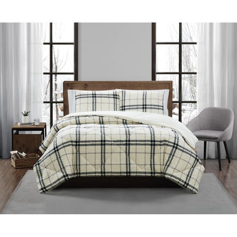 London Fog Popcorn Plaid Sherpa 3 Piece Comforter Set