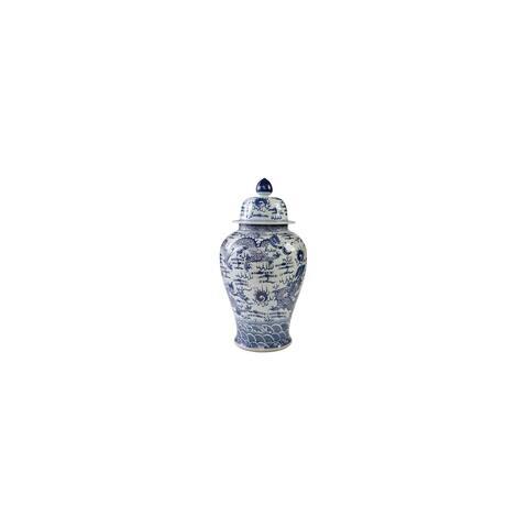 Sea Dragon Motif Large Temple Decorative Jar