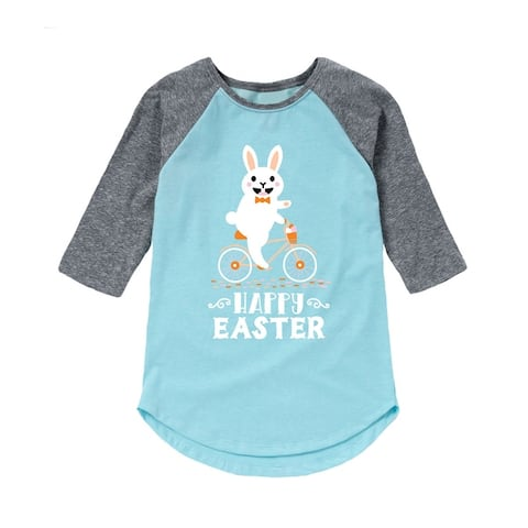Bunny Riding Bike - Toddler Girl Raglan - Light Blue/Ath Hea