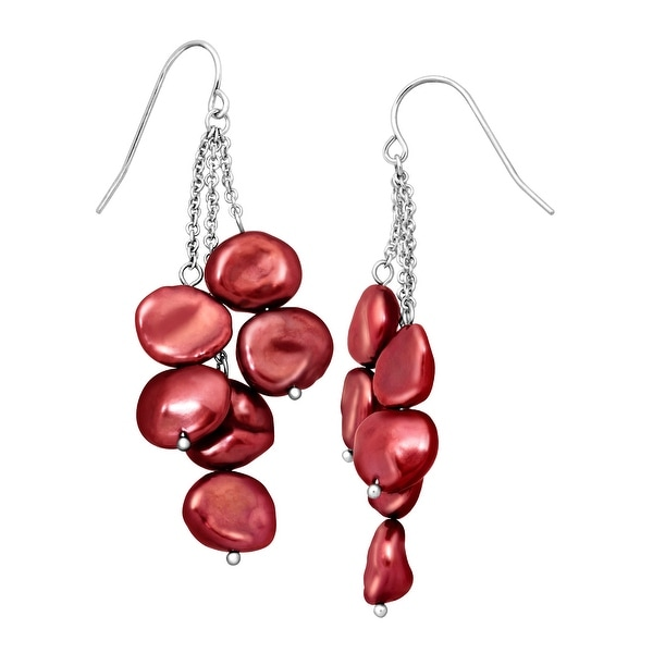 Honora Cherry Keshi Freshwater Pearl Cascade Drop Earrings in Sterling Silver - Red