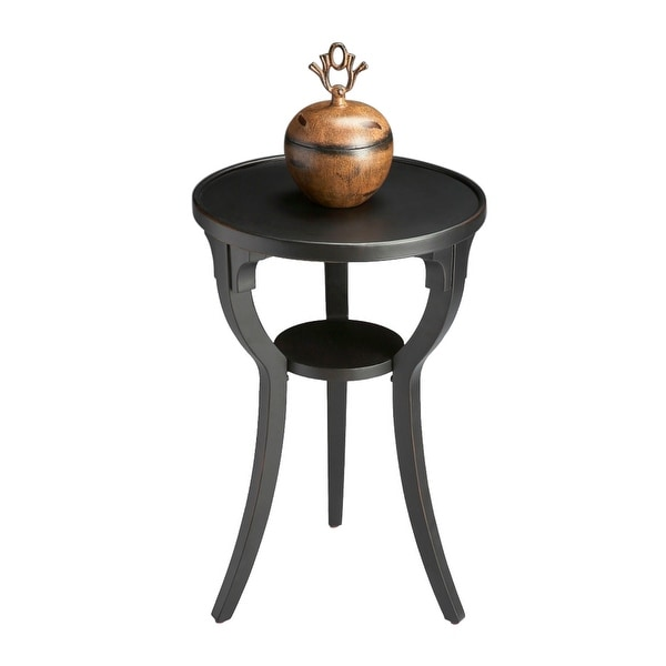 "Offex 16""Dia Distressed Solid Wood Round Accent Table in Black Licorice Finish - Black. Opens flyout."