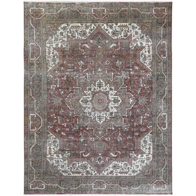 "Shahbanu Rugs Persian Tabriz Worn Down Brick Red Natural Wool Herbal Wash Hand Knotted Clean Vintage Oriental Rug (9'5"" x 12'8"")"