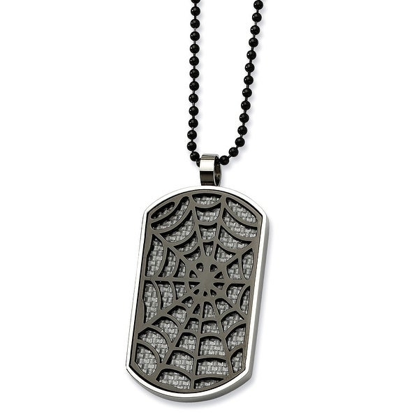 Chisel Stainless Steel Black & White Carbon Fiber Spider Web Dogtag 24 Inch Necklace (1 mm) - 24 in