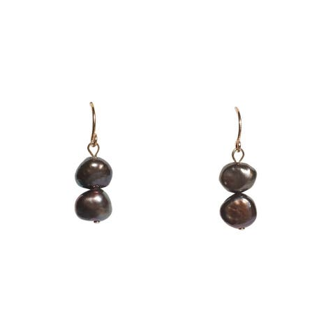 Black Baroque Pearl Earrings on Gold Wire