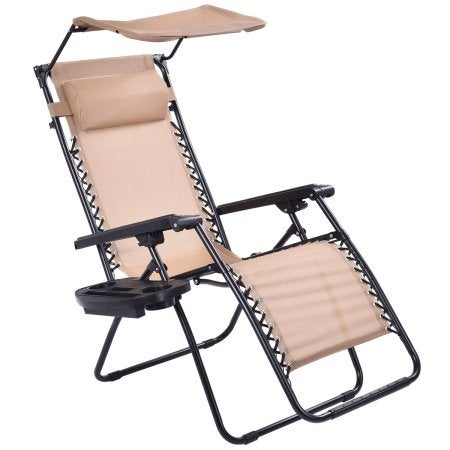 Etonnant Costway Beige Folding Recliner Zero Gravity Lounge Chair With Shade Canopy  U0026amp;Cup Holder