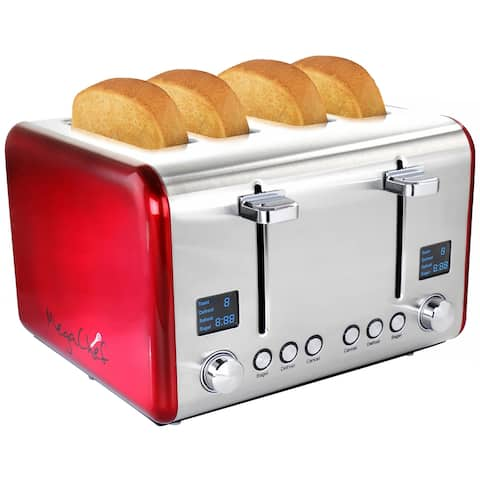 MegaChef 4 Slice Toaster in Stainless Steel Red