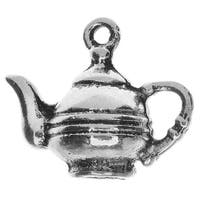 Lead-Free Pewter, Teapot Charm 17x20mm, 2 Pieces, Antiqued Silver