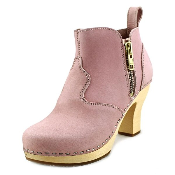 Swedish Hasbeens 382 Women Round Toe Leather Pink Bootie