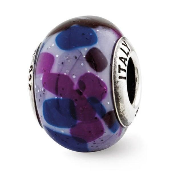 Italian Sterling Silver Reflections Lilac/Purple/Blue Murano Glass Bead (4mm Diameter Hole)
