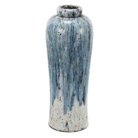 A&B Home Blue and White 23-inch Terracotta Vase