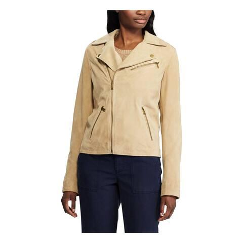 RALPH LAUREN Womens Beige Zippered Solid Zip Up Jacket Size 14