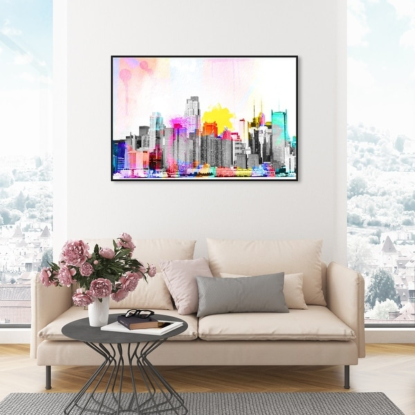 Oliver Gal 'Vibrant NY Bright Lights' Cities and Skylines Wall Art Framed Canvas Print United States Cities - Gray, Pink. Opens flyout.
