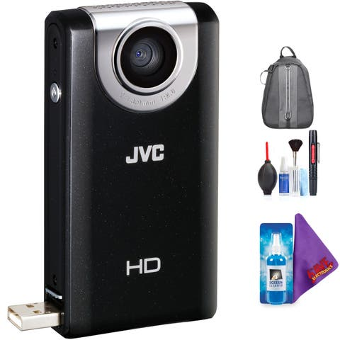 JVC Picsio GC-FM2 HD Pocket Cam (Black) + Pro Accessories Bundle