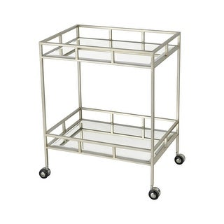 """Dimond Home 1114-318 The Nines 24 """" Wide Metal Frame Bar Cart with Mirrored Shelves - Nickel - N/A"""