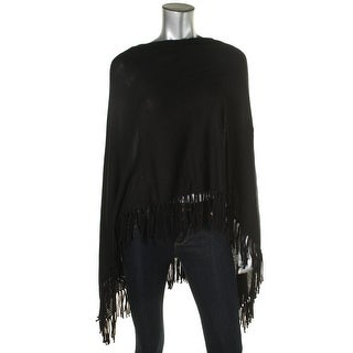 Moon & Meadow Womens Asymmeterical Fringe Poncho Sweater - o/s