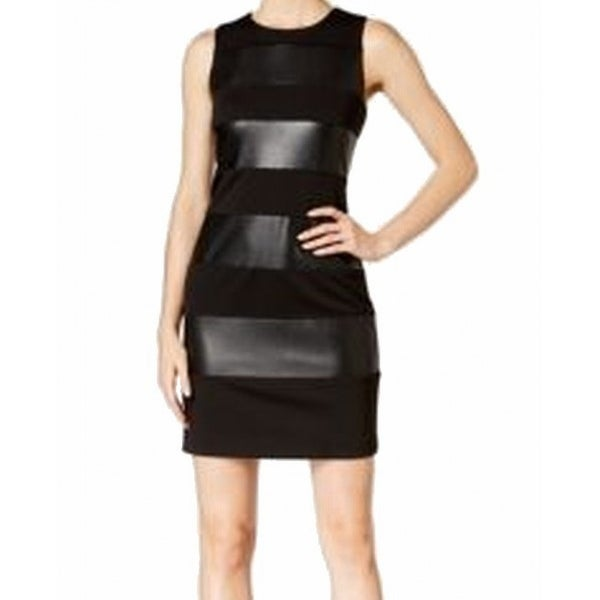 35b16ab3c05 Shop Calvin Klein NEW Black Women s Size 14 Sheath Faux-Leather Dress - Free  Shipping On Orders Over  45 - Overstock - 18770863