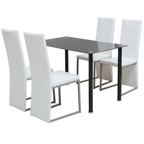 vidaXL 5 Piece Artificial Leather Glass White Dining Set Table 4 Chairs Kitchen