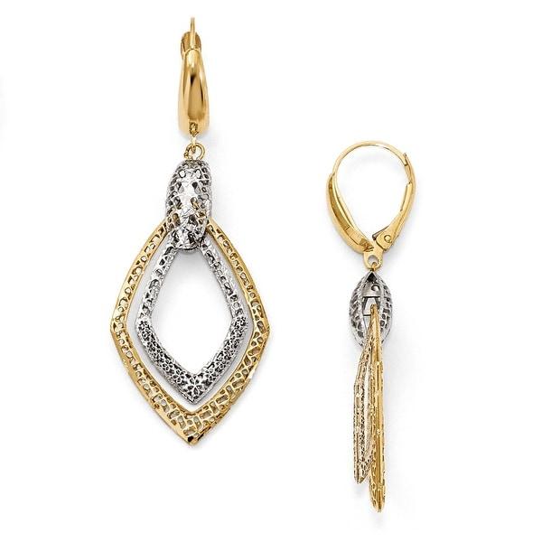 Italian 14k Two-Tone Gold Textured Leverback Dangle Earrings
