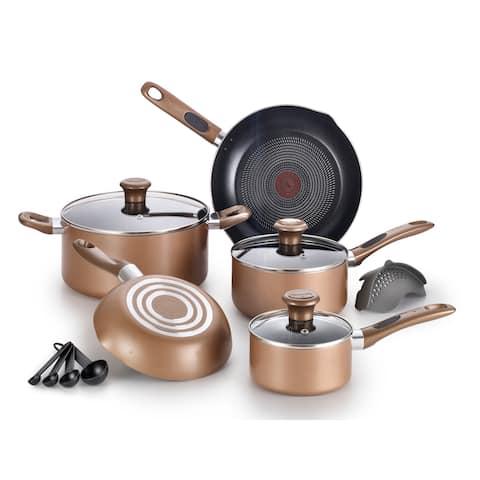 T-fal B036SE64 Excite 14-Piece Non-stick Cookware Set, Bronze