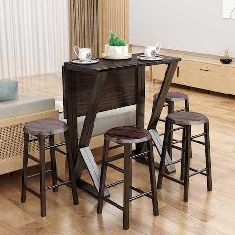 TiramisuBest 5 Pieces Dining Room Bar Table Set with 4 Bar Stools