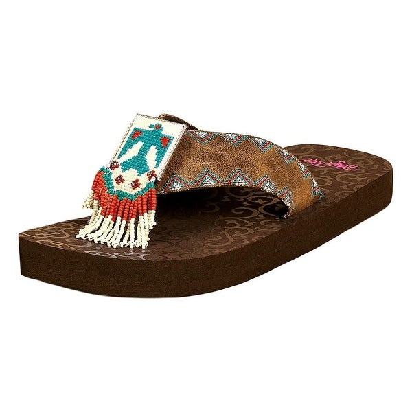 Blazin Roxx Western Shoes Womens Crystal Flip Flops Bead Brown