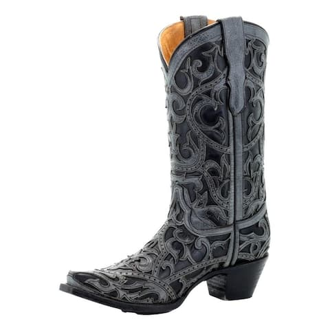 Corral Western Boots Girls Cowboy Full Overlay Black