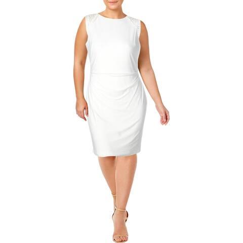 Lauren Ralph Lauren Womens Nadysha Wear to Work Dress Lace Inset Business - White