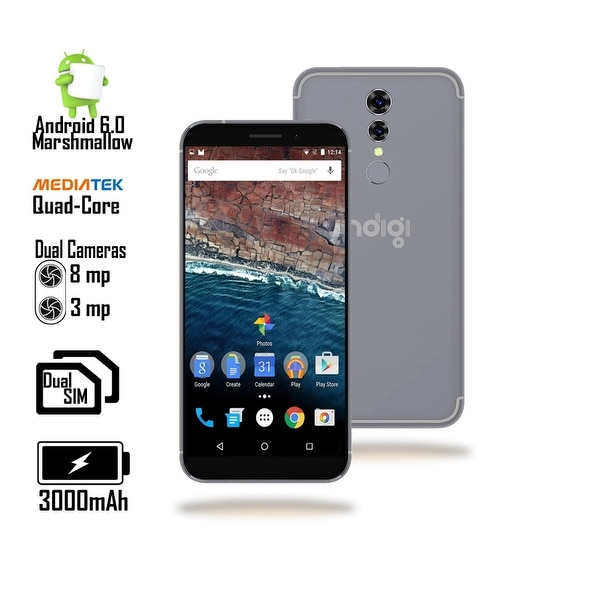Indigi® Unlocked 4G LTE 5.6-inch Android 6.0 Quad-Core 1.2GHz SmartPhone (Fingerprint + 2SIM Slots + Bluetooth 4.0) Black