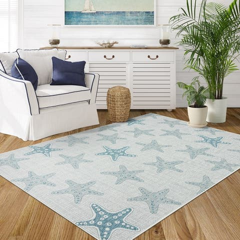 Indoor/Outdoor Starfish Love Coastal Area Rug