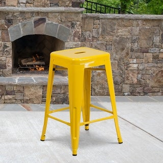"""Link to 24"""" High Backless Metal Indoor-Outdoor Counter Height Stool w/Square Seat Similar Items in Dining Room & Bar Furniture"""
