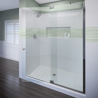 """Miseno MSDF5476 76"""" High x 54"""" Wide Hinged Frameless Shower Door with Clear Glass"""