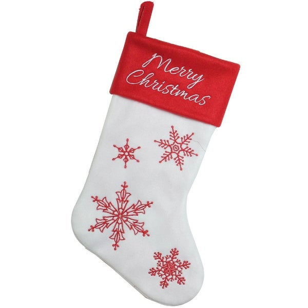 """15.25"""" Red and White """"Merry Christmas"""" Snowflake Embroidered Christmas Stocking"""