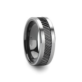 HELIX Gear Teeth Pattern Black Ceramic and Tungsten Ring 8mm