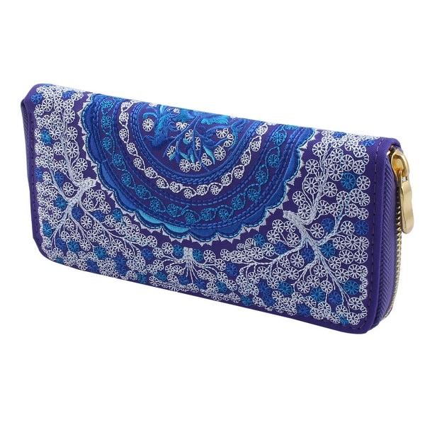 Ladies Embroidered Flower Design Zip Up Wallet Purse Money Handbag Purple