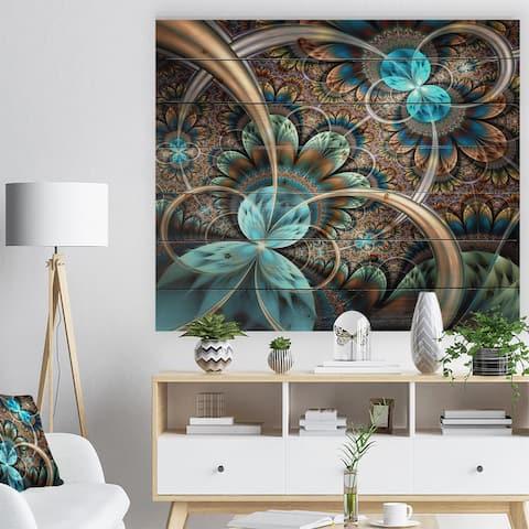 Designart 'Light Blue Fractal Flower' Floral Art Print on Natural Pine Wood