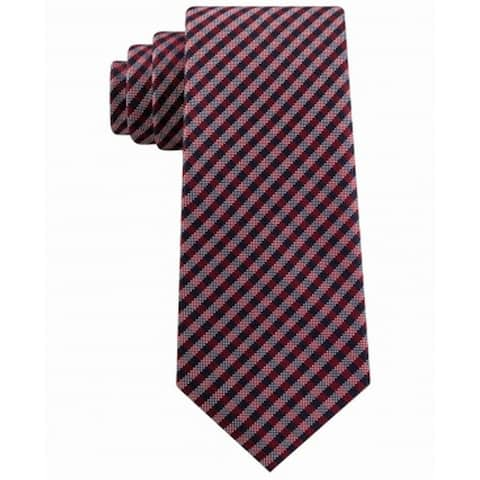 Tommy Hilfiger Men's Classic Textured Plaid Tie Red Size Regular
