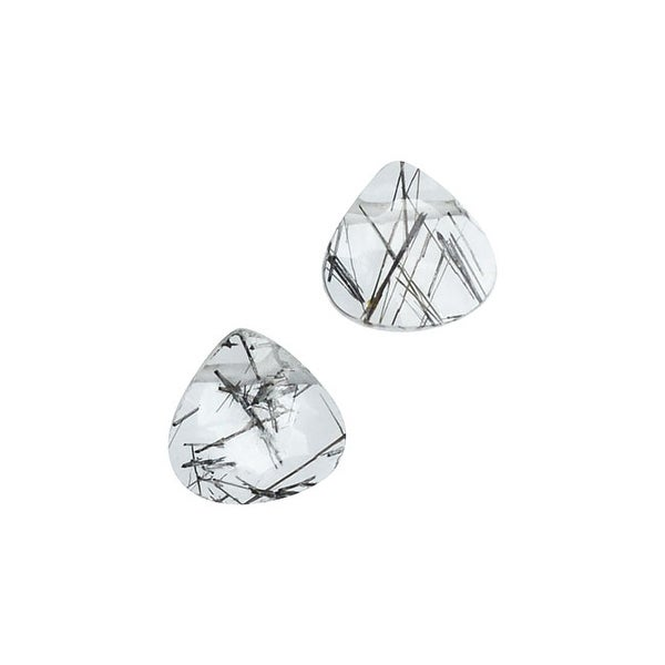 Rutilated Quartz Gemstone Beads, Facected Heart Briolettes 5-7mm, 8 Pieces