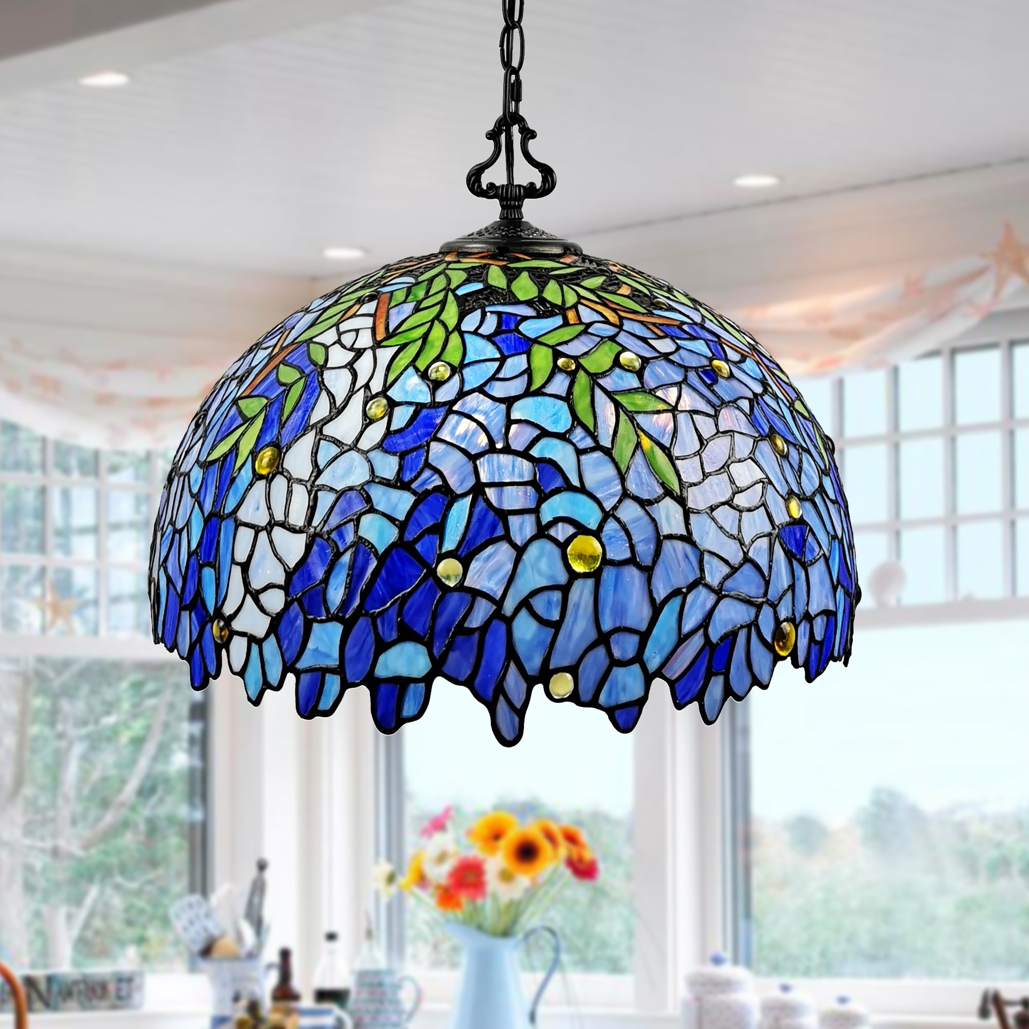 Rikkie 2 Light Wisteria Design Stained Glass Shade Tiffany Style Pendant Lamp Overstock 31640545