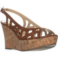 TS35 Ebbie Slingback Wedge Sandals, Cognac
