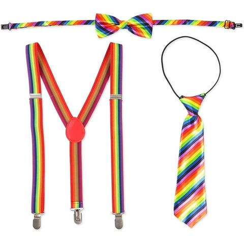 3pc Rainbow Gay Pride Party Costume Set with Suspender, Bowtie Bow Tie Necktie