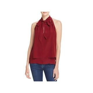 Chelsea & Walker Womens Dress Top Silk Tie Neckband
