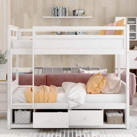 Twin over twin bunk bed, with two drawers and two storage, white