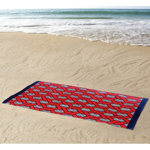 Seedling By Thomas Paul Interlocking Rope Design Beach Towel, Red, 36x72 Inches - Red