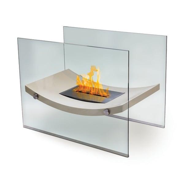 Broadway (High Gloss Light Beige) Bio Ethanol Ventless Fireplace