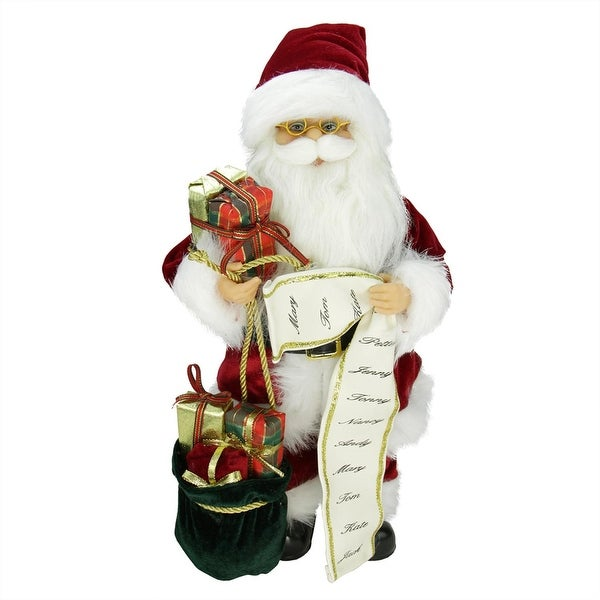 "16"" Traditional Standing Santa Claus Christmas Figure with Name List and Gift Bag"