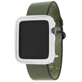 Apple Watch 42mm Green Nylon Woven Bracelet Simulated Diamond 1st Generation