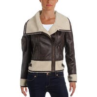 Members Only Womens Motorcycle Jacket Faux Fur Collar