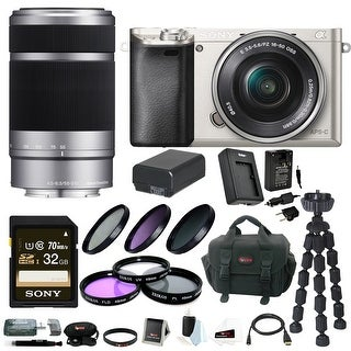 Sony Alpha a6000 24.3 MP Interchangeable Lens Camera Bundle with 16-50mm Power Zoom Lens, Sony 55-210mm f/4.5-6.3 Telephoto Lens